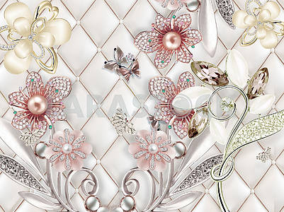 3d illustration, light background, upholstery, pink and beige pearl flowers with crystals