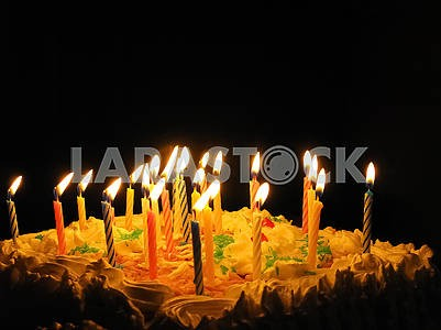 Beautiful festive cake with candles