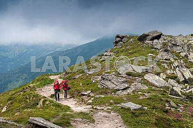 Two tourists with backpacks, go mountain ridge Chornohora