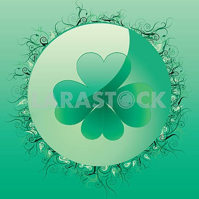 Glass spring button with four leafed clover