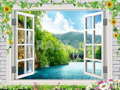 Open window, flowers on the windowsill and around the window, view of the lake, waterfalls and hills