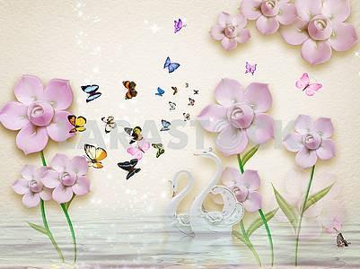 3д иллюстрация, бежевый фон, сказочные розовые цветы, много разноцветных бабочек, два белых фарфоровых лебедя в воде