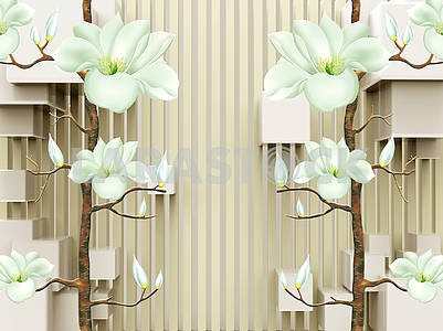 3d illustration, beige background, vertical stripes, cubes, light green fantastic flowers on brown branches