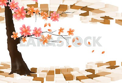 3d illustration, light background, beige and brown cubes, a flowering tree with large flowers