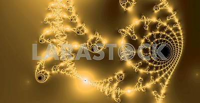 Gold modern radar fractal pattern. Surface ornamental floral background. Elegance textured ornament. Abstract fractals
