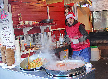 The seller of pilaf on the Sophia Square