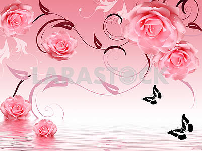 3d illustration, pink background, large pink roses, black outlines of butterflies, reflection in water