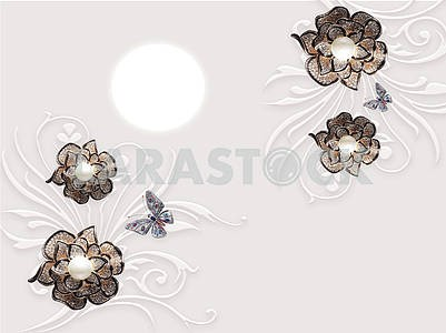3d illustration, gray background, full moon, dark ornamental flowers, two multi-colored butterflies