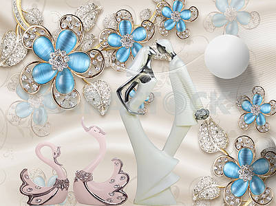 3d illustration, beige background, blue glass flowers with crystals on golden stems, white ball, two pink swans