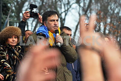 Saakashvili speaks at the Mariinsky Park