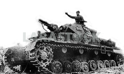 Soviet soldiers on a German tank