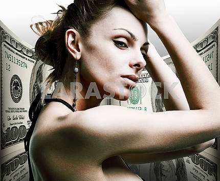 Portrait beautiful young woman. Money, 100 american dollars
