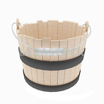 Wood bucket object on isolated white in 3D illustration