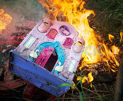 Burning plastic household