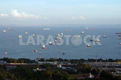Ships near the coast of Singapore
