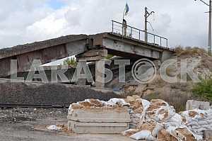 The blown up bridge in Donetsk region