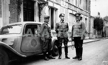 The German high command officers from Citroen car 11-CV