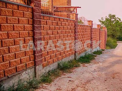 Beautiful fence made of blocks