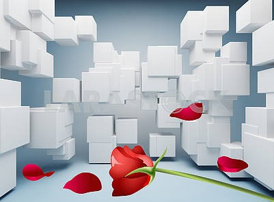3D illustration, background with white cubes, red rose and petals