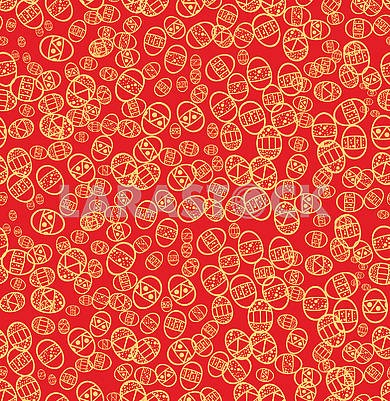 Red Seamless background with Easter eggs
