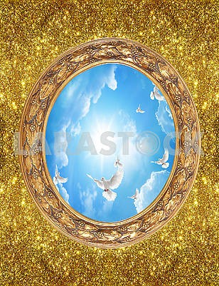 Golden background, tinsel, oval frame, blue sky, white pigeons and the sun