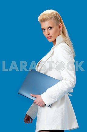 Young business lady with a folder