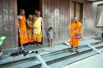 Girl and Buddhist monks