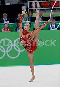 Anna Rizatdinova performs exercises with a hoop
