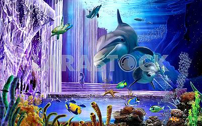 3d oceanic background, dolphins, turtle, fish, coral