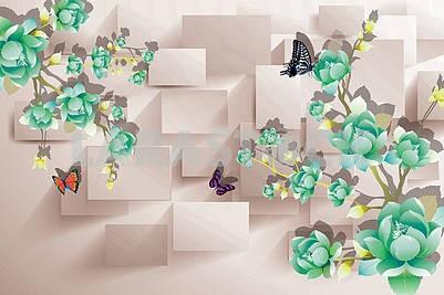 3д иллюстрация, бежевый фон, прямоугольники, зеленые цветы и бабочки