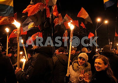Torchlight procession in honor of Bandera