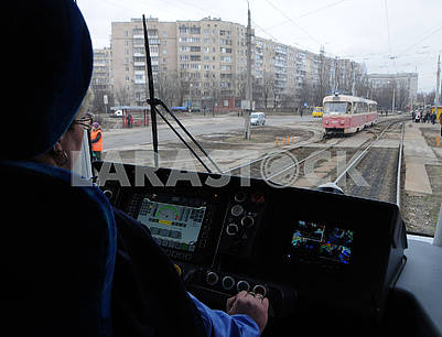 The driver's cab in the new tram PESA
