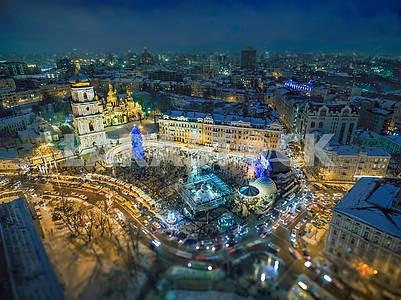 Festive illumination on Sofia's square in Kiev.