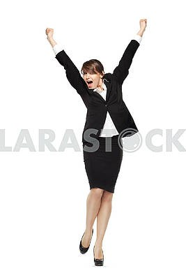 Excited business woman holding hands up shouting, front view, fu