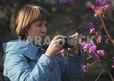 Девушка фотографирует цветение рододендрона