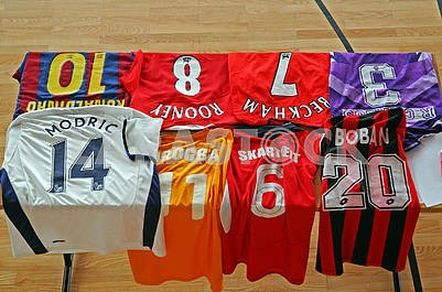 Various famous original football jerseys