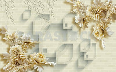 3d illustration, gray brick texture in the background, large beige fairy flowers
