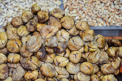 Dried figs on a bunch of close-up