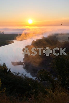 Fog over the Desna. Mezin. Chernihiv region