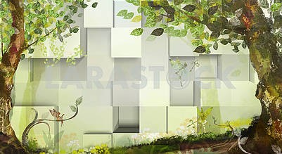 3d illustration, light background, cubes, fabulous trees and fairies