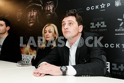 "Actor Vyacheslav Dovzhenko during the pre-premiere screening of the film ""Cyborgs"""