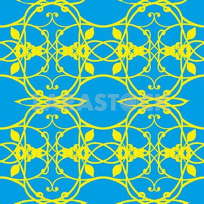 Abstract seamless background with yellow pattern on blue background