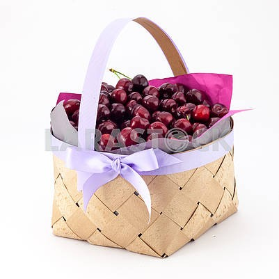 Sweet cherry in a basket