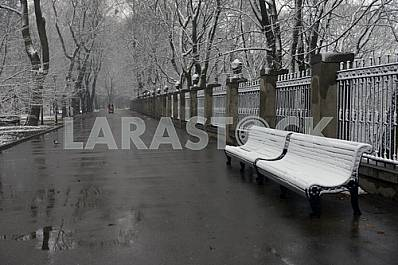 Snow-covered benches in the park