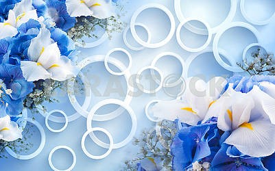 3d illustration, light blue background, white rings, blue and white flowers