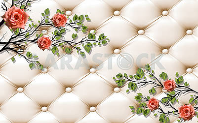 3d illustration, beige background, upholstery, pink roses on the branches