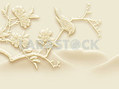 3d illustration, beige background, embossed, flowering branch with a sitting bird