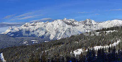 Winter panorama of the Alps