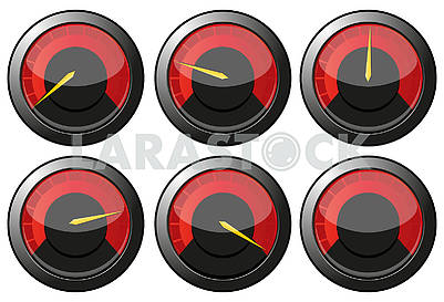 Set of red speedometers