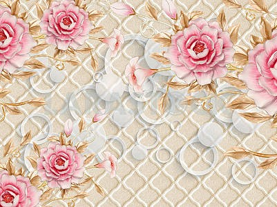 3d illustration, beige embossed background, white translucent rings and circles, pink bouquets of roses and lilies with gold leaves